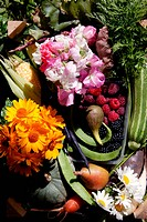 A box full of homegrown flowers, fruit and vegetables, produce from allotments,