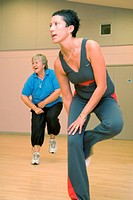 Women taking part in fitness class at Southglade Leisure Centre, Nottingham