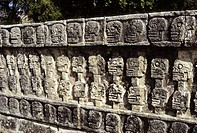 Wall of Skulls. Tzompantli or Platform of Skulls. Chichen Itza, Yucatan, Mexico