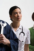Portrait of a mechanic nurse and teacher