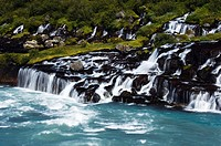 Iceland, Hraunfossar (Lava Falls)