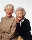 Two senior women smiling, portrait