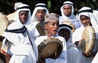 Group of boys playing drums in wedding, Mutsamudu, Anjouan, Comoros