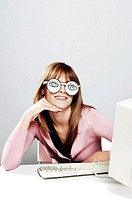 Businesswoman wearing spectacles.