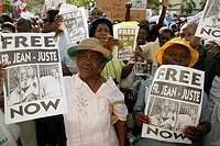 Immigrant Haitians protest arrest of activist Gerard Jean-Juste in Haiti. Miami. Florida. USA.