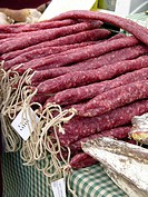 'Secallones' (typical sausages) for sale. Fira Av&#237;cola Ra&#231;a Prat, El Prat de Llobregat, Barcelona province, Catalonia, Spain