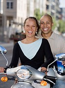 Portrait of couple on motorcycle