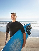 Portrait of man in wet suit at beach with surf board