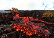 Lava breaks out of a channelized Aa flow on Kilauea volcano in Hawaii. The new lava, transitional in nature betwen pahoehoe and Aa lava is flowing ove...