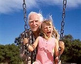 Australia, Victoria, Child Playing with Grandfather