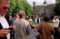 Wine tasting with Mr Winzer Muller at Lingner castle. Dresden. Sachsen. Germany.