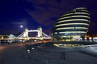 England, London, Tower Bridge and County Hall, night (long exposure)