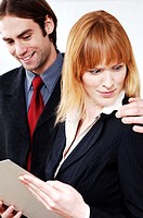 Businesswoman in shock with her colleague's behaviour