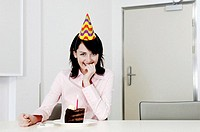 Woman celebrating her birthday alone