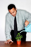 Businessman watering plants