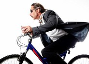Businessman cycling