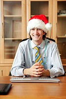 Businessman in christmas mood