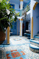 Typical courtyard Chefchaouen, Morocco