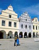 Bohemian Architecture, Zacharia Hradec Square, Telc, South Moravia, Czech Republic