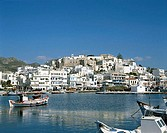 City Skyline and Harbor, Naxos, Cyclades Islands, Greece