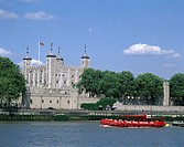 Tour Boat on the Thames River Tower of London London England