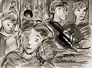 Girl at Cafe, 2000, Richard H. Fox (b.1960/American), Ink on Paper