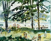 Picnic by the Lake ca. 1920 Martha Walter (1875-1976 American) Watercolor David David Gallery, Philadelphia, Pennsylvania, USA