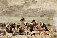 fine arts, Boudin, Eugene, (1824 - 1898), painting, ´the laundresses of Etretat´, 19th century, museum of fine arts, Ghent, Belgium, Europe, impressio...