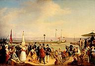 fine arts, Stirnbrand, Franz, (circa 1788 - 1882), ´Alter Hafen Friedrichshafen mit Raddasmpfer Kronprinz´, (´Friedrichshafen old harbour with paddles...