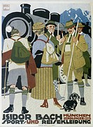 advertising, fashion, Sport und Reisekleidung Isidor Bach, Munich, circa 1910, poster, design by Ludwig Hohlwein (1874 - 1949), fine arts, historical,...