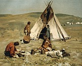 geography / travel, USA, people, American Indians, tribes, Sioux, tipi in camp of Standing Rock Reservation, Fort Yates, after painting by Gilbert Gau...