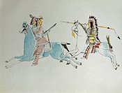 geography / travel, USA, people, American Indians, fight between Kiowa and Comanche, reproduction of watercolour by Comanche boy, from ´Report on Indi...