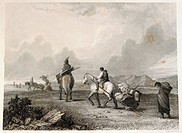 geography / travel, USA, people, American Indians, moving, engraving, by Seth Eastman, (1808 - 1875), from ´The American aboriginal portfolio´, by Mar...