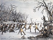 geography / travel, USA, people, American Indians, ball game on ice, engraving, by Seth Eastman, (1808 - 1875), from ´The American aboriginal portfoli...