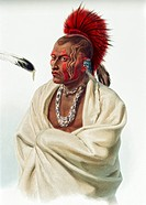 geography / travel, USA, people, American Indians, tribes, Saki, warrior Massika, colour engraving, after watercolour by Carl Bodmer, (1809 - 1893), f...
