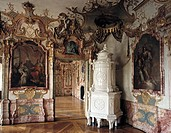 geography/travel, Germany, Bavaria, Kempten, buildings, Residence, 1652 - 1674, built by Michael Beer and Johann Serro, interior view, living room of ...