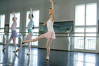 Female ballet dancers exercising