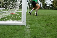 Goalkeeper in front of a goal