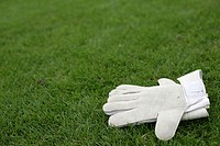 Gloves of a goalkeeper lying on grass