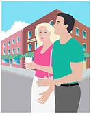 Street Couple Linda Braucht (20th C. American) Computer Graphics