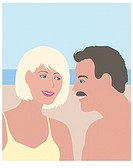 Beach People Linda Braucht (20th C. American) Computer Graphics