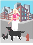 Walking the Dogs Linda Braucht (20th C. American) Computer Graphics