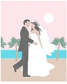 Wedding in Palms Linda Braucht (20th C. American) Computer Graphics