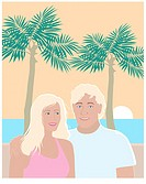 Young Couple on Beach Linda Braucht (20th C. American) Computer Graphics