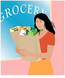 Native American at Grocery Linda Braucht (20th C. American) Computer Graphics