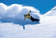 Low angle view of a man snowboarding
