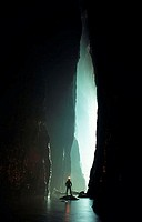 Caver in River Passage Sichuan Province China