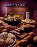 High angle view of bread and biscuits