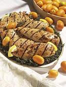 Grilled chicken with kumquats