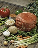 Raw meat with assorted vegetables